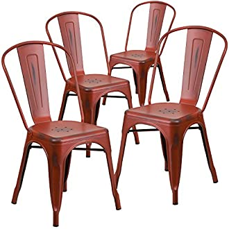 Flash Furniture 4 Pk. Distressed Kelly Red Metal Indoor-Outdoor Stackable Chair
