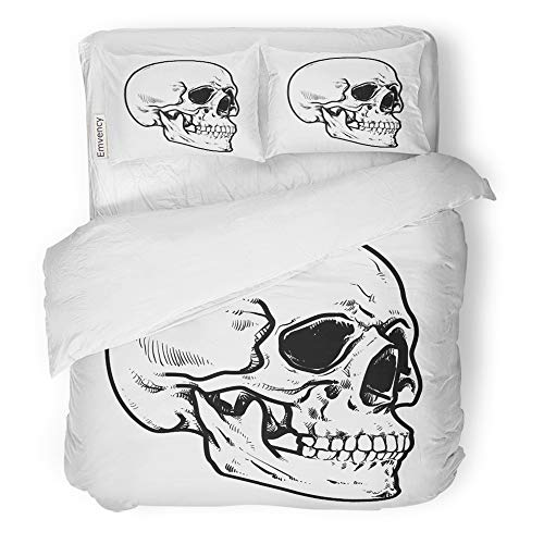 Emvency 3 Piece Duvet Cover Set Brushed Microfiber Fabric Breathable Line Skull Collection of Hard Core Anatomic Anatomy Bedding Set with 2 Pillow Covers Twin Size ()