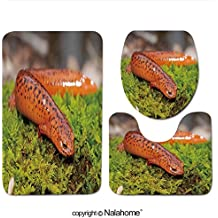 "3 Piece Bath Rug Set Nalahome design-224816473 Northern Red Salamander Pseudotrit Bathroom Rug(15.7""x23.62"")/large Contour Mat(15.7""x15.7"")/Lid Cover(15.7""x16.9"")For Bathroom(brown)"