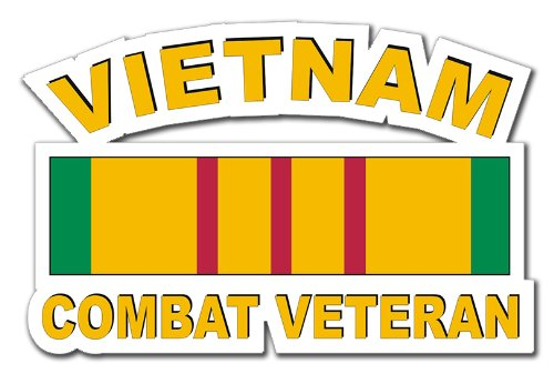 (Military Vet Shop US Army Vietnam Combat Veteran Ribbon Window Bumper Sticker Decal 3.8