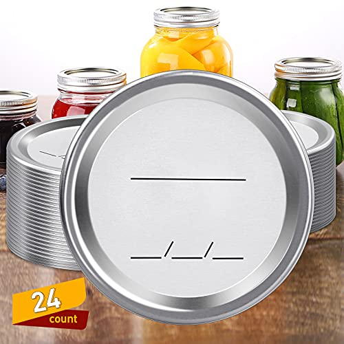 Canning Lids 24-Count Mason Jar Lids, Canning Lids Regular Mouth for Ball Kerr Jars, Split-Type Metal Canning Jar Lids Leak-Proof, Jar Lids for Canning With Food Grade Material, 100% Fit & Airtight for Regular Mouth Jars