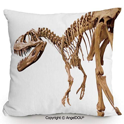 - AngelDOU Decorative Cotton Linen Pillowcase with core,Archeology Museum Theme Wild Tyrannosaurus Rex Skeleton Jurassic Period,Sofa Bedroom Car Eco-Friendly Pillow Cushion.15.7x15.7 inches
