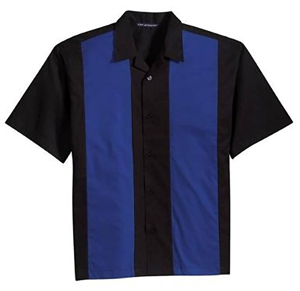 Port Authority Men's Retro Camp Shirt- Black Royal Large