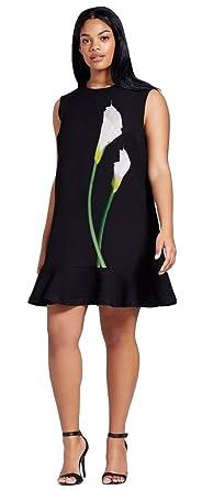 95984ee53b2 Victoria Beckham Women s Black Calla Lily Satin Ruffle Hem Dress at ...