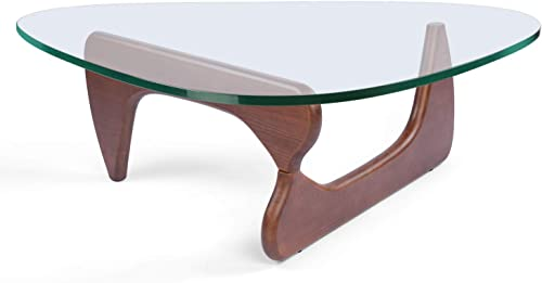 Rimdoc Triangle Glass Coffee Table,Vintage Glass End Table
