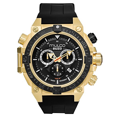 Mulco Buzo Dive Quartz Swiss Chronograph Movement Men's Watch | Analog Display with Blue ion-plated accent | Two tones steel and Gold Watch Band | Water Resistant Stainless Steel Watch | MB6-92565-764