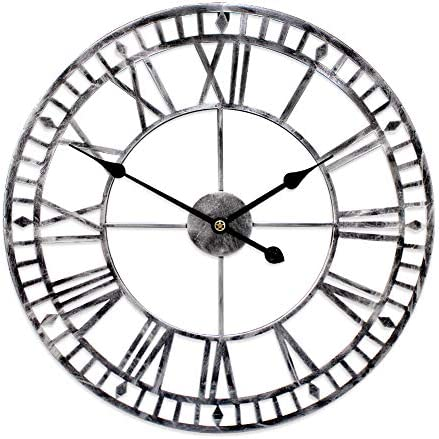 G-LEAF 24 Inch Metal Large Wall Clock Decorative,European Retro Clock Roman Numeral