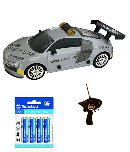 Best Quality Audi Inspired RC Control Sports Race Drift Car (Silver) w/ 2 Extra Tires and 8 AA Alkaline Batteries Birthday, Christmas Gift Ideas for Kids Age 3 and Up