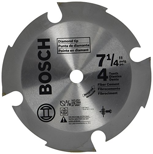 Bosch CB704FC 7-1/4 In. 4 (-PieceD) Tooth Fiber Cement Circular Saw Blade for Standard or Wormdrive - Cement Fiber Trim