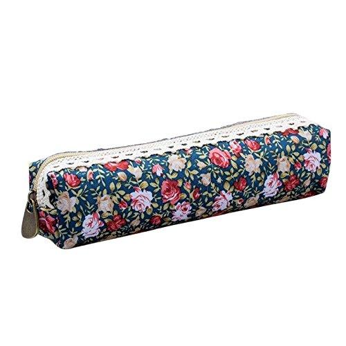 - 3X(Floral Lace Pen Pencil Cosmetic Zipper Storage Case Pouch Bag Purse Dar B6K5)
