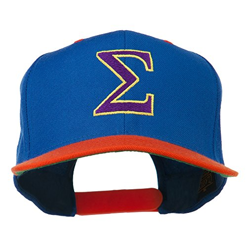 (Greek Alphabet SIGMA Embroidered Two Tone Cap - Royal Orange OSFM)