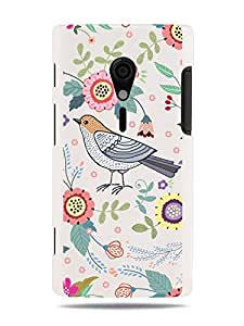 "GRÜV Premium Case - ""Digital Art Floral Medley with Birds"" Design - Best Quality Designer Print on White Hard Cover - for Sony Xperia Ion LT28at, LT28i"