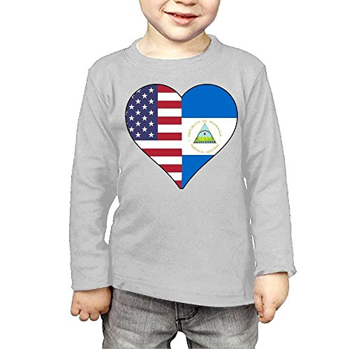 Children's Half Nicaragua Flag Half USA Flag Love Heart ComfortSoft Long Sleeve Shirt by CERTONGCXTS