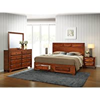 Roundhill Furniture B139KDMN2 Oakland 139 Antique Oak Finish Wood Bed Room Set including King Storage Bed Mirror and 2 Night Stands
