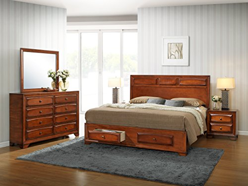 Roundhill Furniture Oakland 139 Antique Oak Finish Wood Bed Room Set, Queen Storage Bed, Dresser, Mirror, 2 Night Stands