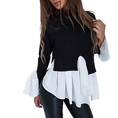 bdb74556be2 Women Turtleneck Puff Sleeve Tops Frill Hem Jumper Ladies Casual High Neck  T-Shirt Blouse Tunic Tops: Amazon.co.uk: Clothing