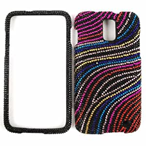 Rainbow Wave Lines Diamond Bling Stones Snap on Cover Faceplate for Samsung Skyrocket i727
