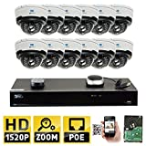 Cheap GW Security 16CH H.265 4K NVR 4-Megapixel (2592 x 1520) 4X Optical Zoom Network Plug & Play Video Security System, 12pcs 4MP 1520p 2.8-12mm Motorized Zoom POE Weatherproof Dome IP Cameras
