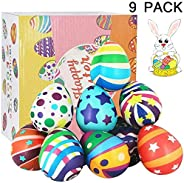 SEETOYS 9 Pack Jumbo Squishies Eggs Novelty Slow Rising Easter Pack Gift Squeeze Stress Relief Easter Basket Stuffers Toys P