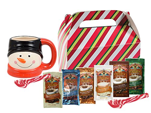 Land O Lakes Hot Cocoa Classics Mix | 8 Packets of 6-Flavor Variety 1.25 oz Each | 2 Hard Candy Peppermint Stir Spoons | Holiday Themed Gift Box and Mug | Christmas Gift Basket.(Black & White Mug)