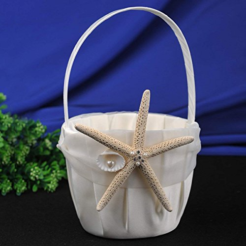 AWEI Ivory Satin Flower Girl Basket with Sea Star and Seashell, Perfect for Beach Themed Wedding ()