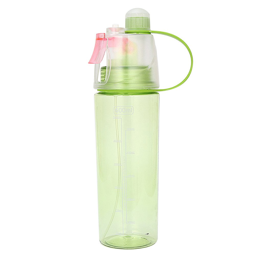Summer Mist Spray Water Bottle Sport Cycling Sports Gym Beach Leak-Proof Drinking Cup (Green, M(600ml, 26cm Height))