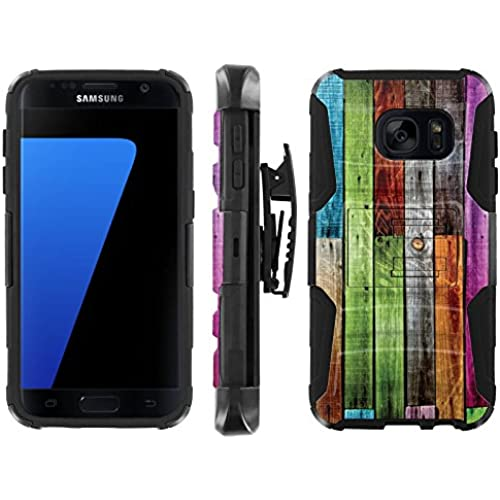 [ArmorXtreme] Case for Samsung Galaxy S7 Black/Black [Combat Armor Heavy Duty Case with Holster] - [Color Wood] Sales