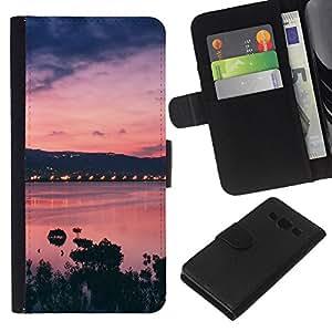 KLONGSHOP // Tirón de la caja Cartera de cuero con ranuras para tarjetas - Sunset Bay Mar Océano púrpura - Samsung Galaxy A3 //