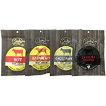 All Natural Hot Beef Jerky Sampler - HOT TESTER 4 PACK - No Added Preservatives, No Added MSG or Nitrates, Farm Raised Beef - 12 total oz.