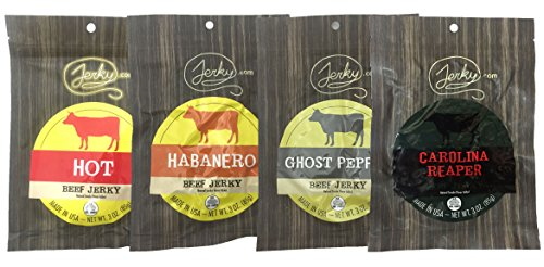 All Natural Hot Beef Jerky Sampler - HOT TESTER 4 PACK - No Added Preservatives,...