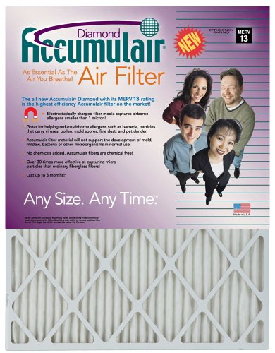 21x22x1 (Actual Size) Accumulair Diamond Filter MERV 13 4-Pack