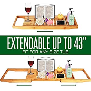 SereneLife Luxury Bamboo Bathtub Caddy Tray - Adjustable Natural Wood Bath Tub Organizer with Wine Holder, Cup Placement, Soap Dish, Book Space & Phone Slot for Spa, Bathroom & Shower - SLBCAD20