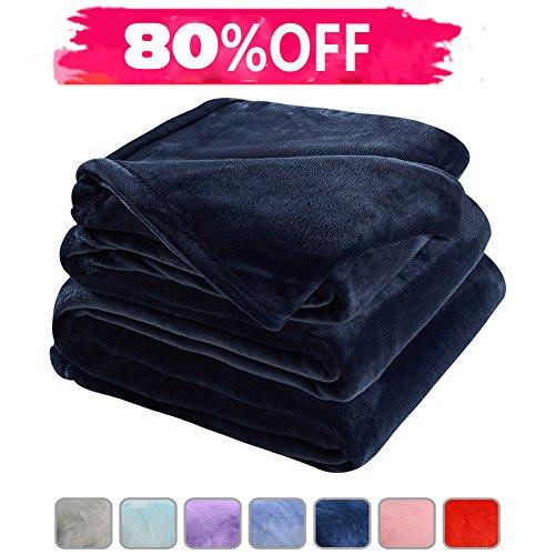 Fleece Bed Blanket Super Soft Warm Fuzzy Velvet Plush Throw Lightweight Cozy Couch Blankets Queen(90-Inch-by-90-Inch)Royal Blue (Plush Soft Blanket)