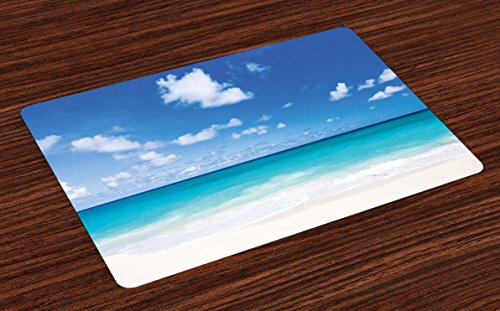 Ambesonne Ocean Place Mats Set of 4, Tropical Exotic Sandy Beach Caribbean Sea Bay Barbados Coastline Summertime, Washable Fabric Placemats for Dining Room Kitchen Table Decor, Blue Aqua Coconut