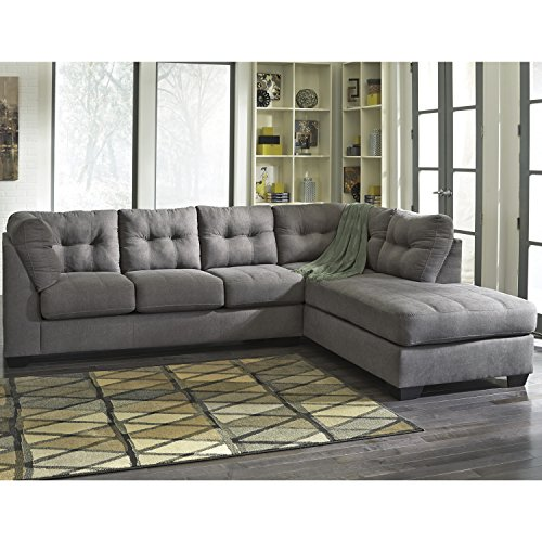 Flash Furniture Benchcraft Maier Sectional with Right Side Facing Chaise in Charcoal Microfiber (Apartment Facing Sofa)