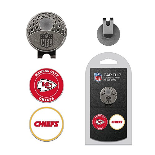 Team Golf NFL Kansas City Chiefs Golf Cap Clip with 2 Removable Double-Sided Enamel Magnetic Ball Markers, Attaches Easily to Hats (Kansas Golf Ball)