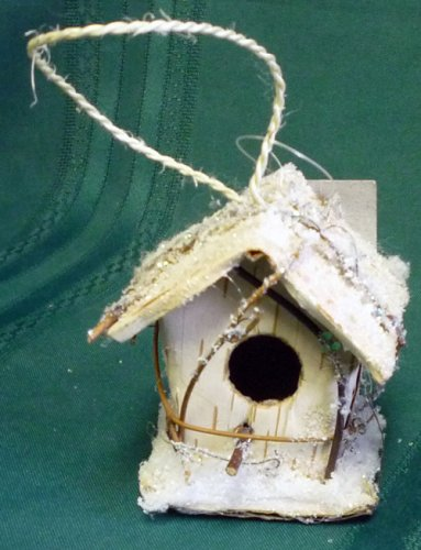 birch bark birdhouse christmas tree ornament - Bird House Christmas Decoration