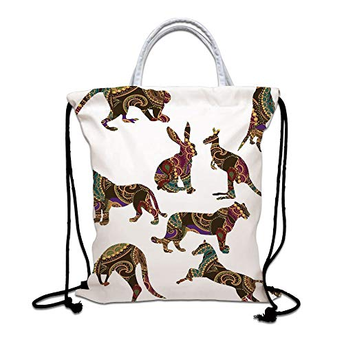 Tropical Animals Drawstring Backpack Bag,Heart Shape Seahorse Couple Kissing with Bubbles Underwater Love Marine Lightweight Sports Gym Bag for Women Men Children,Orange Yellow