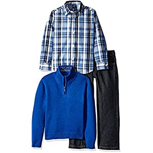 Nautica Boys' 3-Piece Sweater, Pants, and Button-Down Shirt Set
