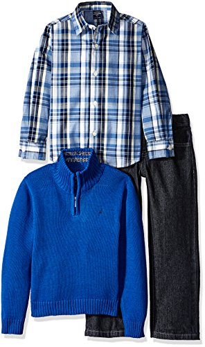 - Nautica Little Boys Three Piece Set with Woven Shirt Quarter Zip Sweater and Pant, Medium Blue, Medium/5/6