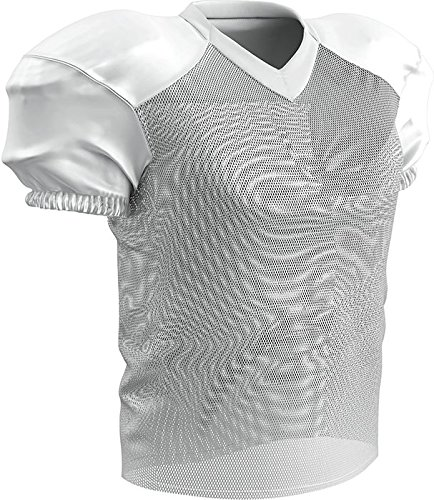 CHAMPRO Youth Stretch Polyester Practice Football Jersey, White, X-Large