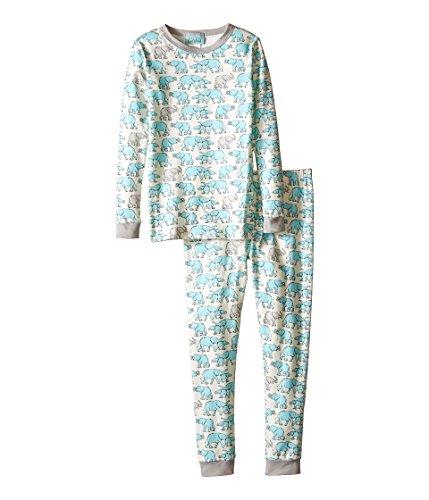BedHead Kids Boy's Long Sleeve Two-Piece PJ (Toddler/Little Kids) Blue Elephants Pajama Set 4T (Toddler)