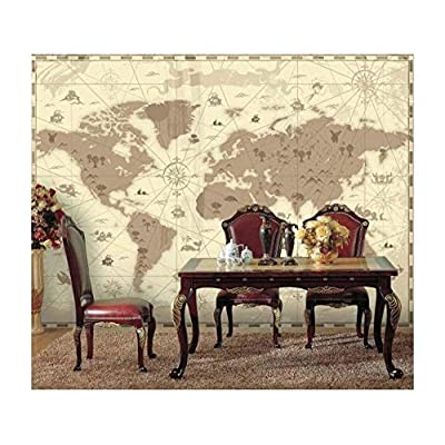 Brown Vintage World Map with Compass and Fun Cute Landscape and Mystical Animals Icons - Wall Mural, Removable Sticker, Home Decor - 66x96 inches