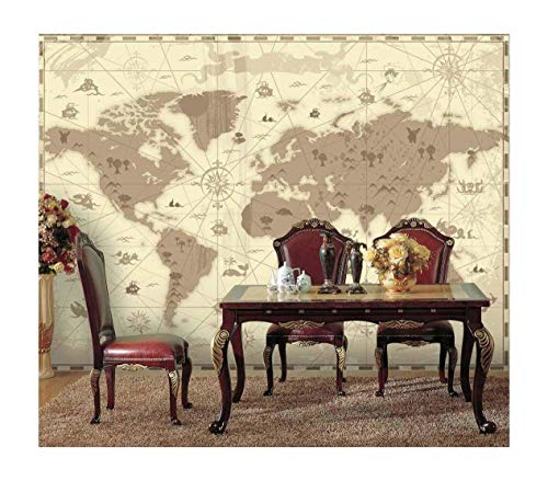 Brown Vintage World Map with Compass and Fun Cute Landscape and Mystical Animals Icons Wall Mural