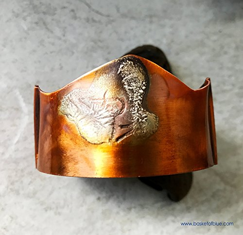 rustic-copper-cuff-bracelet-hammered-texture-sterling-silver-torch-flamed