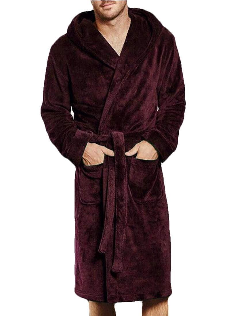 e560c84a5a Generic Mens Long Bathrobe Kimono Solid Colored Bath Robe Soft Flannel Robe  at Amazon Men s Clothing store