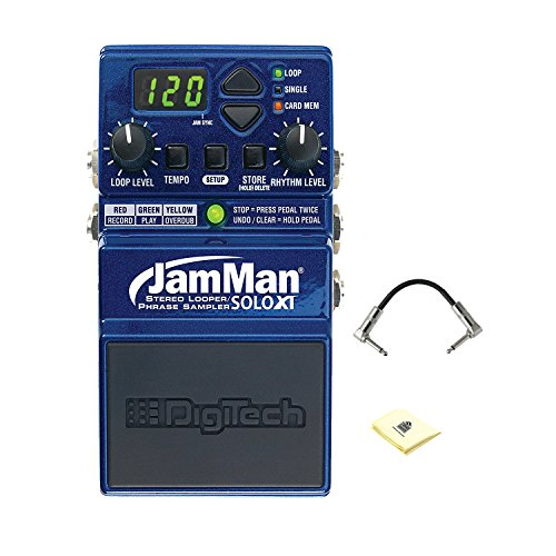 DigiTech JamMan Solo XT Compact Stereo Looper Phrase Sampler Effect Pedal with 35 Minutes of Internal Recording Capacity and Included Jam Manager Loop Librarian Software Patch Cable and Zorro Cloth