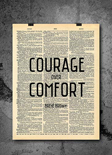 TED Talk Author Art Quotes | Brene Brown - Courage Over Comfort | Vintage Dictionary Print 8x10 Home Vintage Art Prints Motivational Wall Art for Home Decor Wall Decorations (Print Only)