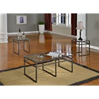 3 Pc Glass And Pewter Finish Metal Frame Coffee Table & 2 End Tables Occasional Table Set