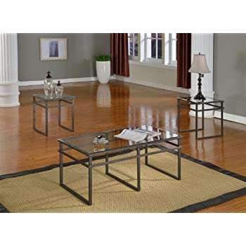 this item 3 pc glass and pewter finish metal frame coffee table 2 end tables occasional table set